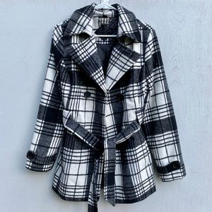 Jou Jou Black & White Plaid Wool Pea Coat w/ Belt